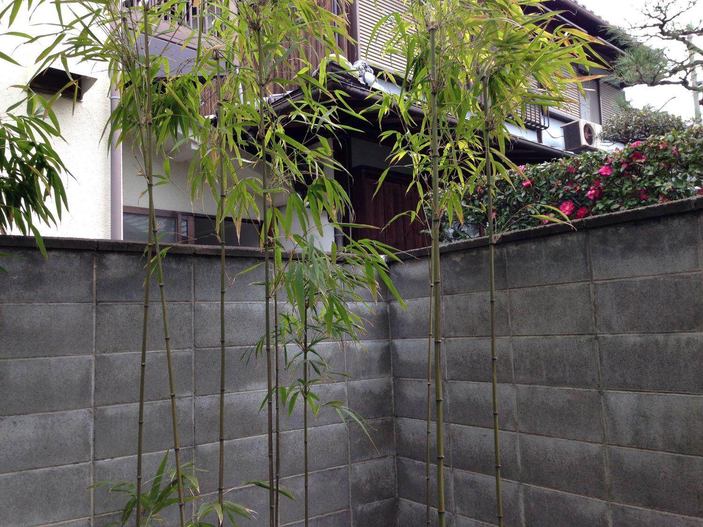 無機質なブロック塀が「建仁寺垣」で和みの空間に